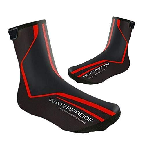wasserdichte Fahrradschuhe Abdeckungen Winter Rennrad Überschuhe Thermisch Warme Schuhe Abdeckung für Männer Frauen, MTB Fahrradschuhe (Red,EU39-42(UK6.5-8.5))