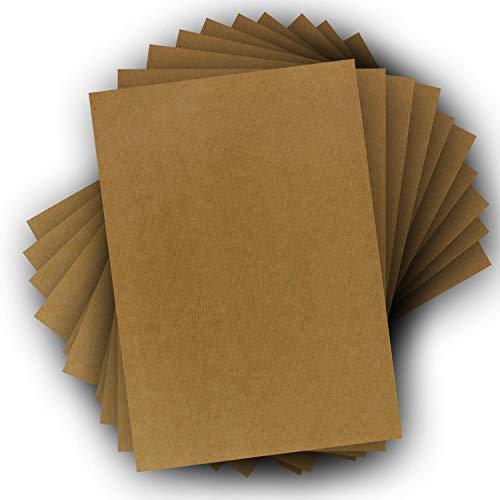 100x DIN A4 Kraftpapier Bogen - 21 x 29,7 cm - Natron Kraftpapier gerippt - 120 g/m² - Braun - ökölogisches Vintage Briefpapier