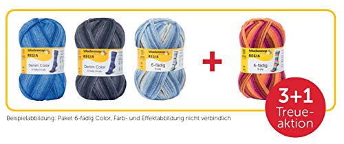 REGIA 6-fädig Color 9801285-SET01 Überraschungs-Wollpaket, 4 Knäuel, Sockenwolle, 600g