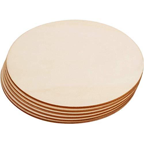 Círculo de madera sin pintar, redondo, trozos de madera en blanco, cortes redondos para manualidades, decoración (20 cm de diámetro, 6 unidades)