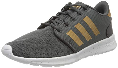 adidas Women's Cloudfoam Qt Racer Sneaker, Grey Six/Tactile Gold met./FTWR White, 5 M US