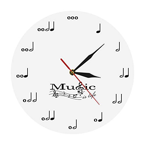 nobrand Wall Clock Modern Musical Notes Wall Clock Music is Life Wall Watches Acrylic Clock Music Theme Design Wall Decor for Living Room Best Gift Home Office Removable Decoration for Living Room