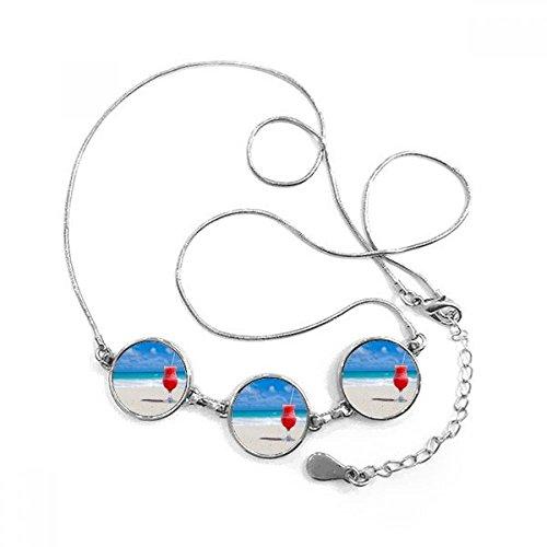 DIYthinker Imagen Playa de Arena Océano Zumo de sandía Forma Redonda Colgante Collar Joyas con Cadena decoración Regalo