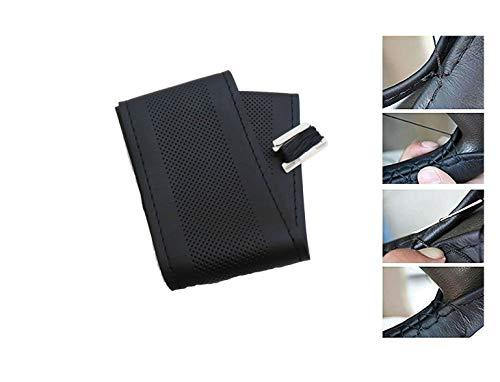 PRICEKILLER® - Coprivolante da cucire in morbida simil pelle nera naturale con fori universale sportivo sport auto - Colore Nero trama pelle liscia naturale