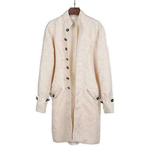Lazzgirl Herren Print Mantel Frack Jacke Gothic Gehrock Uniform Kostüm Praty Outwear(Weiß,XXX-Large,Polyester)