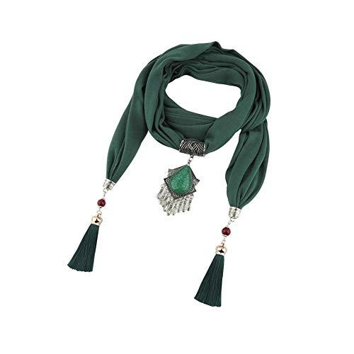Kentop 1 Stück Vintage Ethnic Damen Chiffon Unendlichkeit Schal mit großer Imitation Perlen Kette Anhänger Schmuck Halskette Gr. XXL, dunkelgrün