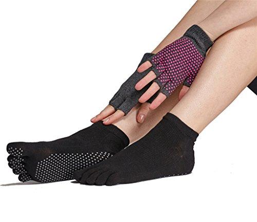 Yoga Socks and Gloves Set - Non Slip Grip Socks for Women Barre Pilates Exercise