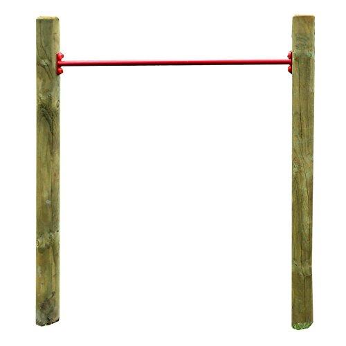 Einzelreck ERR Kinder-Turnreck aus Holz mit Reckstange rot für Garten Outdoor