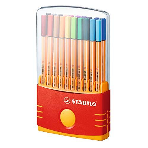 Rotulador punta fina STABILO point 88 - Estuche premium Colorparade con 20 colores