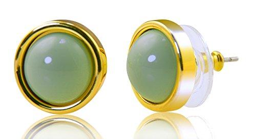 PAPOLY, Pendientes de vestir hechos con cristal SWAROVSKI detalle de Perla, delicado diseño con una perfecta aleación de Black Rhodium Plating muy resistente al deslustre (TURQUESA)