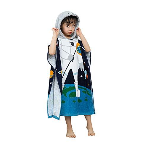 EXQUILEG 100% Baumwolle Saugfähige Kinder Badetuch Kapuzen Bademantel Bade-Poncho Kapuzenhandtuch mit Tiermotiv Kapuzenponchos Bad Strand FürJungen Mädchen (Astronaut, 70x60cm)