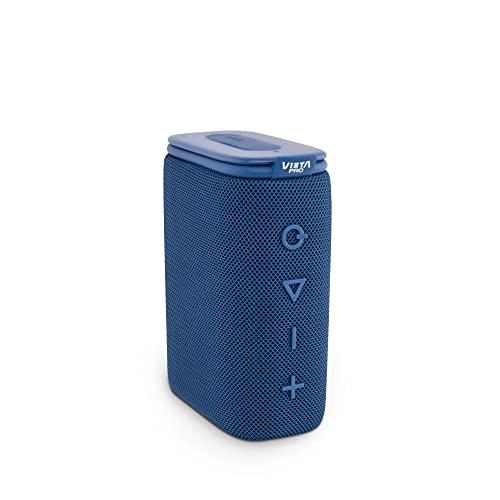 Altavoz Round Up 2 de Vieta Pro, con Bluetooth 5.0, True Wireless, Micrófono, Radio FM, 12 Horas de autonomía, Resistencia al Agua IPX7 y Entrada Auxiliar; Acabado en Color Azul.