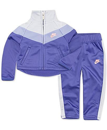 Nike Girl`s Therma-Fit Full Zip Jacket & Jogging Pants 2 Piece Set (Dark Purple(3ME156-P4E)/Pink, 6X)