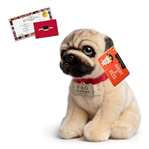FAO Schwarz 10 Inch Plush Realistic Pug Stuffed Animal for Boys and Girls, Collectible Cuddle and Snuggle Pal Featuring Ultra-Soft Fur