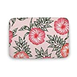 Promini Pink Hibiscus Hawaiian Flower Luxury Coral Velvet Bathroom Rug Mat, Machine Wash Dry, Carpet Mats for Tub, Shower, and Bath Room Home Decor 20' x 30'
