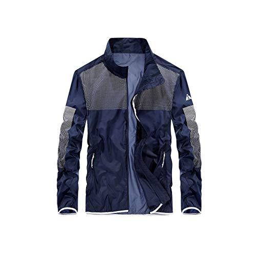 RXL Schweiß Herren Sonnenschutzkleidung Sommer-dünne Jacke Sonnenschutzkleidung Outdoor-lose Sportjacke Windjacke Schnelltrocknend (Color : Blue, Size : XL)