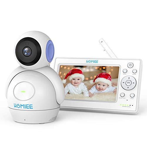 HOMIEE 5 Zoll Video Babyphone, 2.0 Video Überwachung 360°Baby Kamera, Baby Monito mit PTZ, Dual Audio, Nachtsicht Kamera, Temperatursensor, Schlaflied, babyfon kamera 300m Reichweite