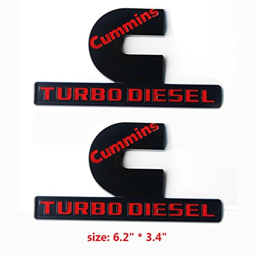 "Yoaoo 2x OEM Black Cummins Turbo Emblem Badges High Output Replacement for 2500 3500 Fender Emblem Matte Red 6.2"" by 3.4"" inches"