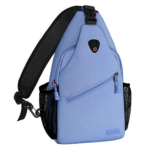 MOSISO Rope Sling Backpack (Up to 13 inch), Multipurpose Crossbody Chest Shoulder Outdoor Travel Hiking Daypack, Airy Blue