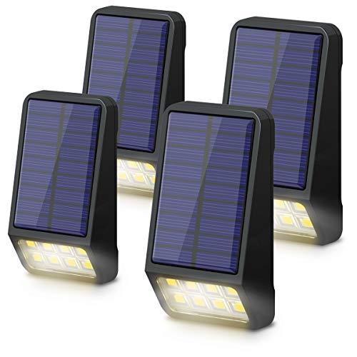 Solarlampen für Außen, LOHAS Solarleuchten Garten, Außenbeleuchtung, 0.8W, 3000K Warmweiß, Außenlicht Solarleuchten, Wasserdichte IP65, für Zaun, Treppen, Flur, Wandleuchte Aussen, 5V, 4er Pack