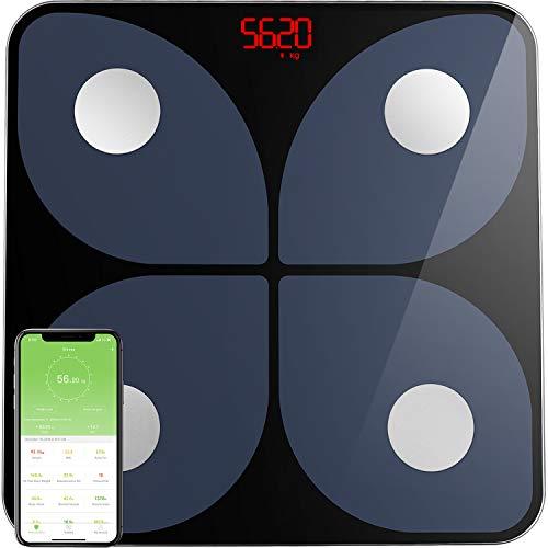 BasculadeBaño BásculaInteligente Wireless Escala de peso Báscula Baño Digital Analizar Más de 13 Funciones, Monitores de Composición Corporal Máximo 180kg para Andriod y iOS (Negro)