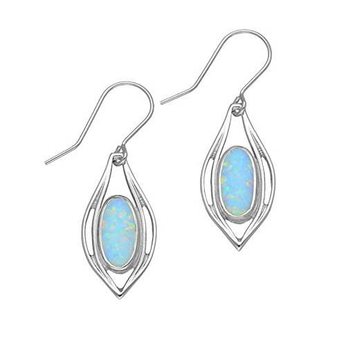 Sterling Silver Traditional Contemporary Modern Sahara Sunset Design Pair of Earrings With White Opal Stone