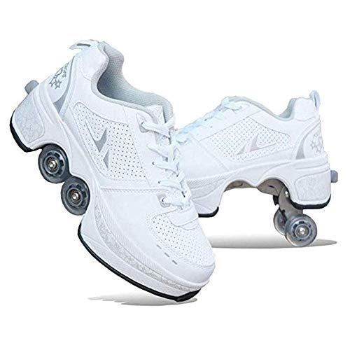 HAX 2-In-1-Mehrzweckschuhe, Inline-Skate, Verstellbare Quad-Rollschuh-Stiefel, Multifunktionale Deformation Schuhe Quad Skate Rollschuhe Skating Outdoor Sportschuhe Für Erwachsene,Weiß,39
