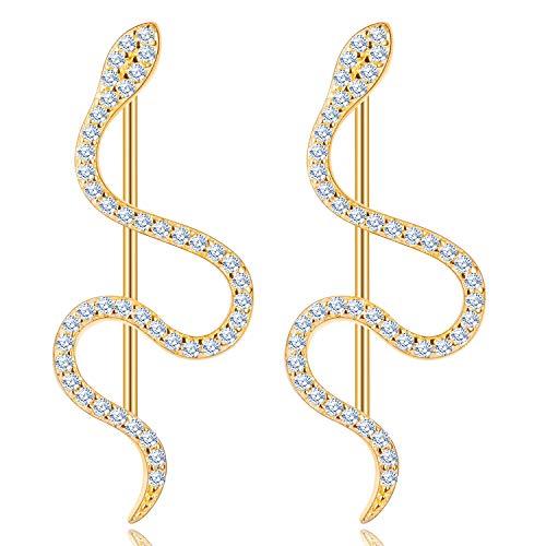 KINIVA Ohrstecker Silber 925, Ohrringe Schlange Rhodinierte Hypoallergenes Modeschmuck Ohrringe, Statement Schmuck Valentinstag Geschenk für Sie (Gold)