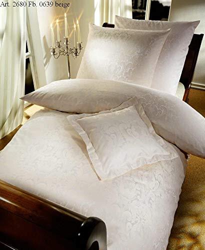 Curt Bauer Mako-Brokat Damast Bettwäsche Florenz beige 1 Bettbezug 135x200 cm + 1 Kissenbezug 80x80 cm