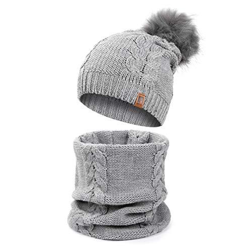 HEYO Damen Wintermütze Schlauchschal Set Winter Gestrickte Warme Mütze mit Schal   HZ0002 (Grau)