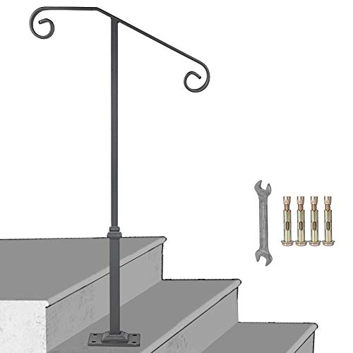 LOVSHARE Gray Single Post Handrail Fits 1 or 2 Steps Handrail Wrought Iron Single Post Rail Single Post Railing Ornamental Top Handrail for Outdoors with Hardware 1 or 2 Step Railing