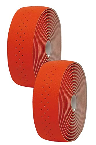morytrade バーテープ ロードバイク グリップテープ クロスバイク グリップ 穴あき バーエンド (オレンジ)