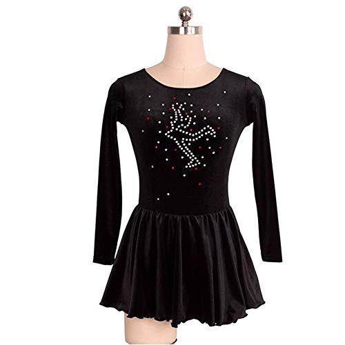 XIAOYU Kinder Erwachsener Eiskunstlauf Anzug-Klage-Mädchen-Mantel-Plus-Hose Schwarz Plus Samt-Kampf-Farbstreifen,Custommade