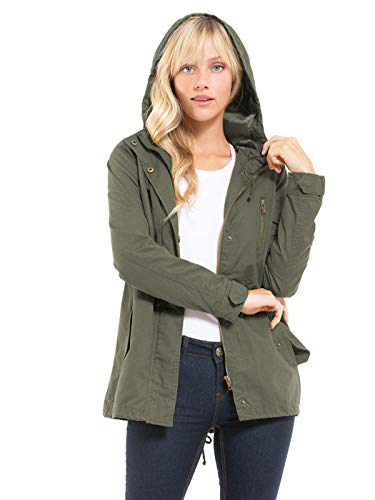 Design by Olivia Women's Military Anorak Safari Hoodie Jacket Olive3 L