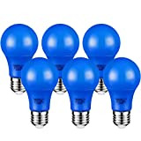 TORCHSTAR LED Blue Light Bulbs, 7W(40W Equivalent) A19 Colored Bulb with Medium Base, 2-Year Warranty, 30,000hrs Lifespan, for Outdoor Lights Fixture, Floor Lamp, Living Room Decoration, Pack of 6