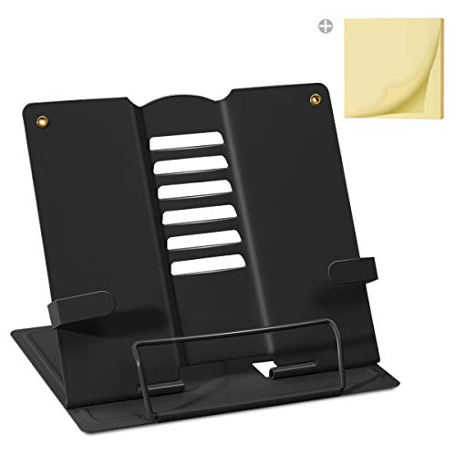 Palumma ブック スタンド 書見台 ブック スタンド 卓上 読書 スタンド 鉄製 より耐久性 広げて厚く 折畳み 肩こり解消 目の保護 ポストイット付き(ブラック)