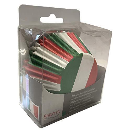 50 Party-Muffinförmchen * ITALIEN * für Länderparty oder Geburtstag von Städter // Muffin Muffins Party Kindergeburtstag Mottoparty Fussball Papier Backförmchen Rom Italy grün weiss rot