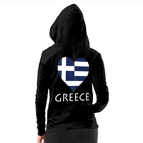 Keceur Women's Brushed Full Zip Hoodie Jacket I Love Greece Flag Heart Sportswear Hooded Workout Track Running Pullover Sweatshirts with Pockets, L