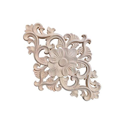 HEALLILY Apliques de madera tallada en onlay sin pintar, marco de decoración de puerta de estilo europeo para muebles, apliques para ventanas, puertas, gabinetes y camas