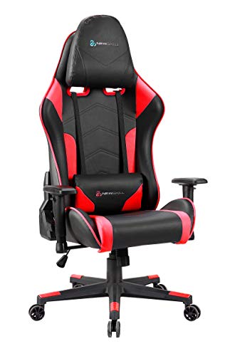Newskill Kitsune - Silla gaming profesional (Inclinacion y altura regulable, reposabrazos 2D ajustables, base en nylon, reclinable 180º), Color Roja