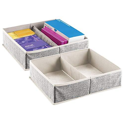 mDesign Juego de 2 divisores de cajones – Caja de almacenaje para material de oficina – Cestas organizadoras con 2 compartimentos para bolígrafos, notas adhesivas, clips, etc. – crema/negro
