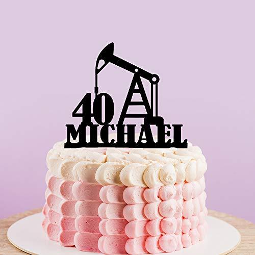 Gepersonaliseerde Olie Rig Boren Platform Cake Topper, Aangepaste Naam Leeftijd Verjaardag Cake Topper voor Man,40e