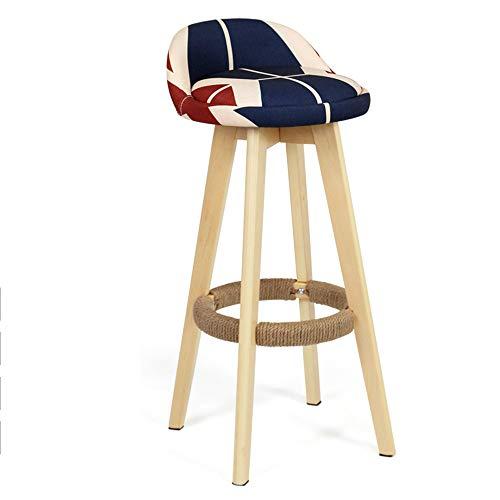 HYXQY massief houten barkruk retro barkruk Europese kruk 360 ° creatieve barkruk huis hoge stoel