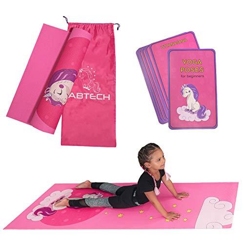 Set Tapis Yoga Enfant - Tapis de Yoga Rose Licorne pour Filles - sans Produits Chimiques - Non Toxique – Antidérapant - avec 12 Cartes de Yoga et Un Sac Portable