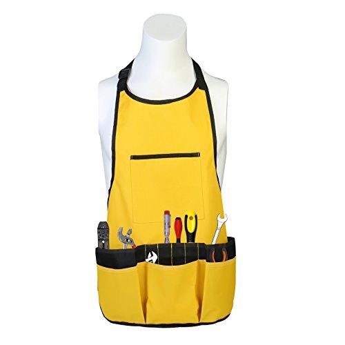 Oxford Tuch Arbeitsschürze Gartenschürze für Haus Garten Wasserdicht Strapazierfähige Arbeitsschürze mit Werkzeugtaschen Verstellbar bis XXL für Damen und Herren