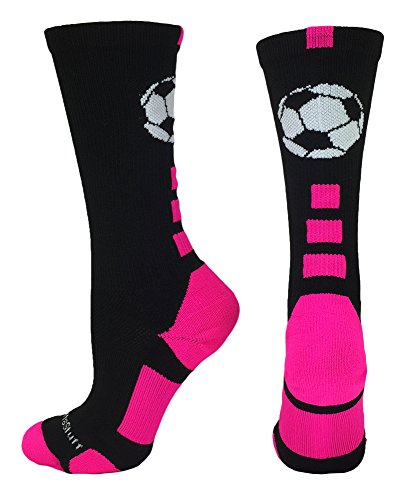MadSportsStuff Soccer Ball Crew Socks (Black/Neon Pink, Small)