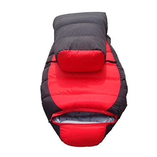 FKB@ED Saco de dormir para adultos, sacos de dormir de invierno para acampar, sacos de dormir con sobre cálido y saco de compresión para caminatas con mochila/Rojo / 2 kg