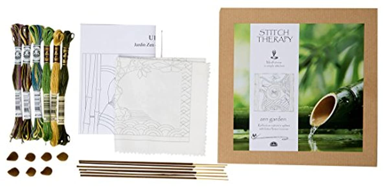 DMC Creative World Stitch Therapy Embroidery kit-Zen Garden, 100% Cotton, Multi, 20 x 0.5 x 20 cm