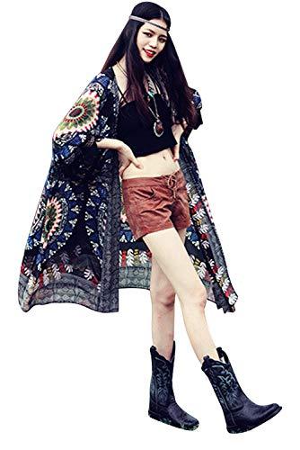 Cardigan Largo Mujer Talla Grande Bohemio Hippie Chic Kimono Etnico Estampado Africano Indio Chaquetas Vestir Flores Ropa Piscina Playa Traje de Baño Camisolas y Pareos Vestido Beach Bikini Cover Up