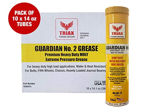 Triax Guardian HD EP Grease with Moly - True Multi Purpose - Wheel Bearings, Shock Loaded Parts, Extremely Tacky, 400 F Drop Point, Zero Separation - Ultimate Heavy Duty Grease (Box of 10 x 14 OZ)